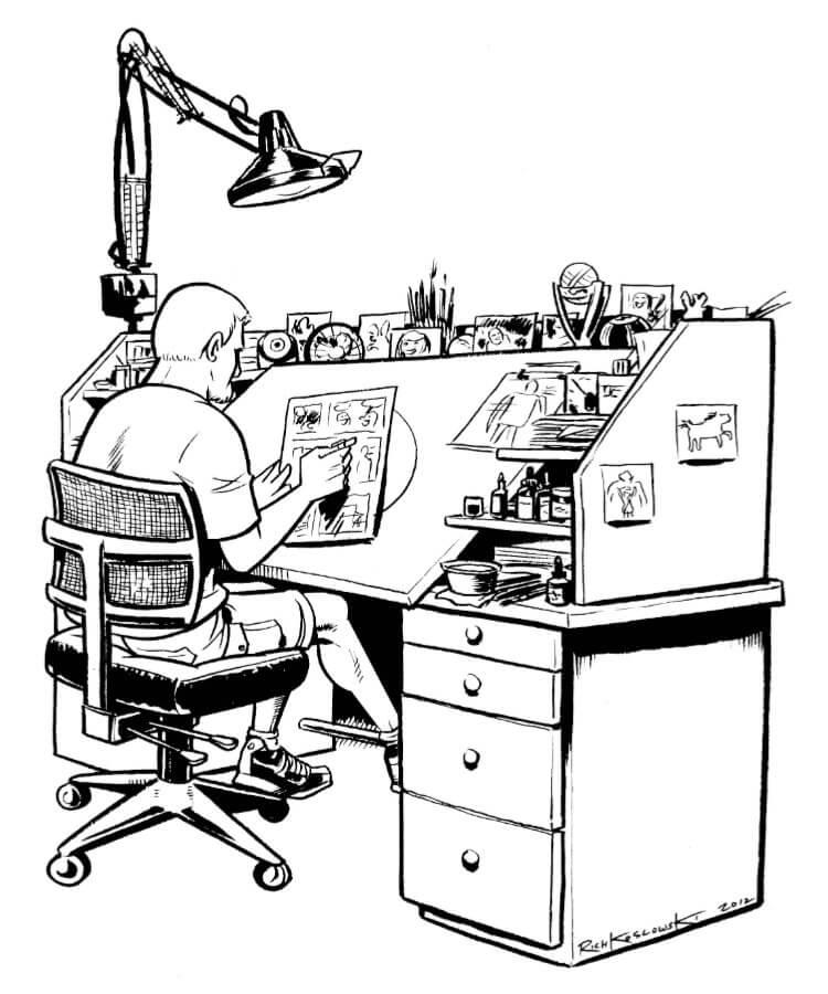 Rich Koslowski at Drawing Desk Ink Sketch